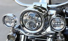"4-1/2"" Chrome LED Auxiliary Spot Fog Passing Lights Lamps Pair Harley Motorcycle"
