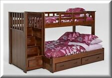 Bunk Beds With Stairs Wood Twin Over Full Chocolate Bedroom Furniture Stairway