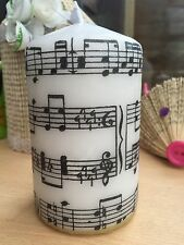 "MUSIC SHEET/ ""Musica"" Design Hand Decorated Pillar Candle / Decoupage"