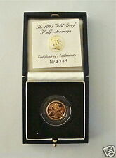 1995 ROYAL MINT ST GEORGE SOLID 22K GOLD PROOF HALF SOVEREIGN COIN BOX COA