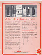 1973 AD SHEET #2537 - SELMER MUSICAL INSTRUMENT - CLARINET SAXAPHONE MOUTHPIECES