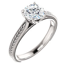 Semi Mount Setting Sculptural Vintage White Gold Engagement Ring for Round Stone