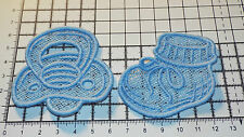 Iron on/Sew on- Blue,Baby Bootee and Pacifier, Guipure Lace Motif,Applique - 6cm