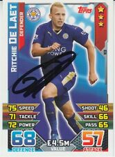 LEICESTER CITY HAND SIGNED RITCHIE DE LAET 15/16 MATCH ATTAX CARD.