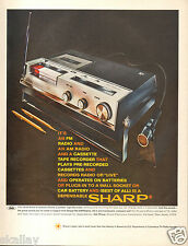 1969 LARGE Print Ad of Sharp Solid State AM/FM Radio Cassette Tape Recorder