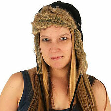 Delux Riley Trapper Hat Black C1071 Warm Wool Soft Fun Fake Fur Hat Knitwear NWT