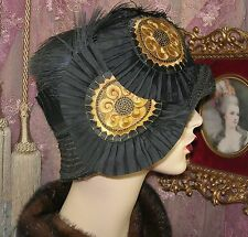 1920'S VINTAGE STYLE GOLD & BLACK EMBROIDERED APPLIQUE CLOCHE FLAPPER HAT
