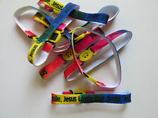 48 Nylon SMILE JESUS LOVES YOU BRACELETS religious jewelry VBS bulk FREE SHIP