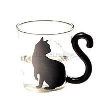 Cute English Words Cat Boronsilicate Glass Coffee Cup Transparent Water Mug