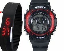 Smart Kids Sports Digital Watch for Boy/ Girls + Smart Black Led Slim Watch