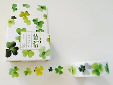 ST PATRICK'S DAY WASHI TAPE: WATERCOLOR SHAMROCK CLOVER BOXED WASHI TAPE- NEW