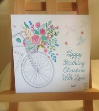 Handmade Personalised Bicycle Design Mothers Day / Birthday Card