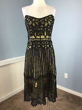 Betsey Johnson Black Crochet Overlay Strapless Cocktail Party Dress M 8 EUC