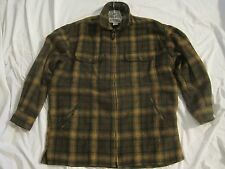 MENS Large WOOL BLEND ZIP CLOSE FLANNEL JACKET Hiking Hunting Climb Fishing Camp