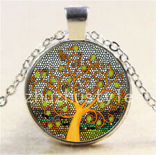 NEW yellow Tree of Life Cabochon Glass Tibet Silver Chain Pendant Necklace