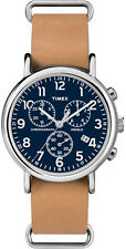 Timex Men's Weekender Chrono TW2P62300  Blue Dial Tan Leather Band Quartz Watch