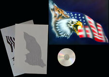 Step by Step Airbrush Schablone 416 Wolf/Adler/USFlagge