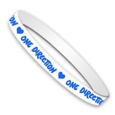 1D One Direction Harry Styles Gummy White Blue Bracelet Wristband Fan Official