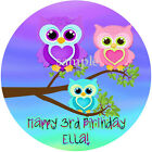 Cute OWLS Round Edible CAKE Image Icing Topper Party Decoration FREE SHIPPIN