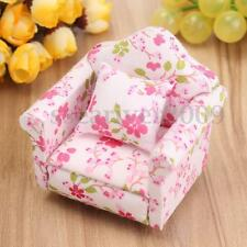 1/12 Scale Dollhouse Miniature Furniture Wooden Recliner Chaise Couch Sofa Pink