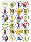 24 x Edible Personalised Icing Rice Paper Teletubbies Birthday Cup Cake Toppers
