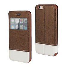 Brown Book Slim Window Style Flip Case Cover for iPhone 6 Plus/6s Plus
