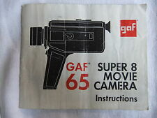Instructions cine movie camera  GAF 65 super 8  - CD/Email