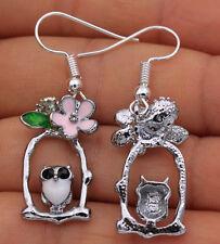 925 Silver Plated Hook - 1.7'' Owl Bird Flower Branch Birdcage Club Earrings #04