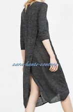 BNWT ZARA MAXI LONG DRESS TOP CARDIGAN DARK GREY MARL BACK SLIT SIZE S / UK 8