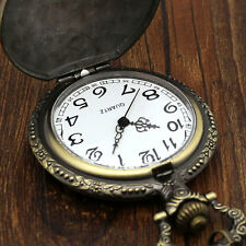 Bronze vintage pocket watch necklace pendant chain quartz movement antique