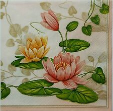 LOTUS  WATER LILIES  TWO(2) single LUNCH SIZE paper napkins for decoupage 3-ply