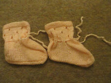 Homemade Knitted Peach Pink Baby Booties Boots Wool Blend 6 - 9 12 months
