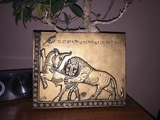 Aged Brass Look PERSIAN Lion & Bull wall Art suitable for home & garden Somarian