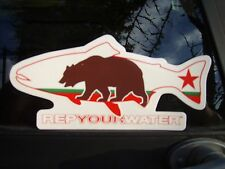California Flag Grizzly Bear Fly Fishing Trout Decal