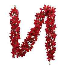 """5' (60"""") Red Poinsettia Chain Garland w/gold glitter centers Xmas Tree NWT"""