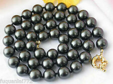 "NEW 10MM BLACK SOUTH SEA SHELL PEARL NECKLACE 18"" AAA+"