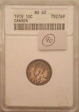 1919 Canada 10C Ten Cents Dime Anacs Certified MS62
