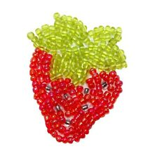 ID 9118 Red Strawberry Garden Fruit Seeded Food Beaded Iron On Applique Patch