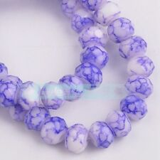 50pcs 8mm Marble Faceted Rondelle Crystal Glass Loose Spacer Beads Pale Purple