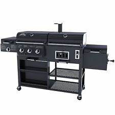 NEW Smoke Hollow 4 in 1 Combo Grill 3 burner & BBQ Smoker Box Gas and Charcoal