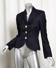 AKRIS Womens Navy Wool Fitted Classic 3 Button Blazer Jacket Coat 34/4 NEW