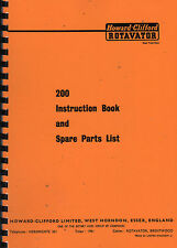 "Howard-Clifford ""200"" Garden Rotavator Instruction Manual/Spare Parts List"