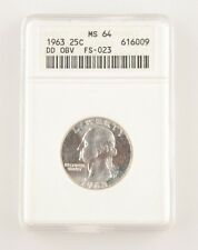 1963 25¢ Double Die Obverse FS-023 Washington Quarter Graded as MS-64 by ANACS