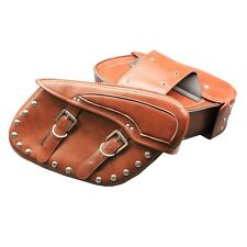 Brown PU Leather Motorcycle Luggage Saddle Bags Rider Motorbike Panniers New