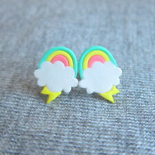 handmade rainbow cloud retro kawaii funny spring easter gifts earrings jewelry
