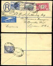 SOUTH AFRICA 1936 REGISTERED AIRMAIL STATIONERY 4d + 6d 3 COLOUR FRANKING to GB
