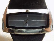 Ladies SWISS Rare  ALFEX Plum Design 5550 Wide Black Leather Band Quartz Watch