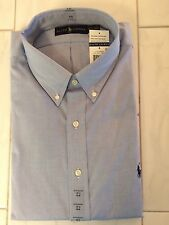 NWT POLO RALPH LAUREN MENS PINPOINT LS SHIRT BLUE BUTTON DOWN 17 1/2  32-33 PONY