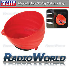 Sealey Magnetic Tool Nut Bolt Fixing Collector Tray Dish 150mm Composite Red