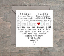 Personalised Handmade Wedding Day Card Engagement Anniversary Heart.